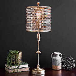 Gold Metal Edison Bulb Table Lamp