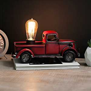 Vintage Red Truck Edison Bulb Table Lamp