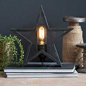 Rustic Bronze Star Edison Bulb Table Lamp