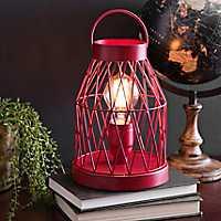 Rustic Red Lantern Edison Bulb Table Lamp