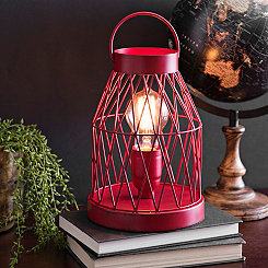 Rustic Red Lantern Edison Bulb Table Lamp