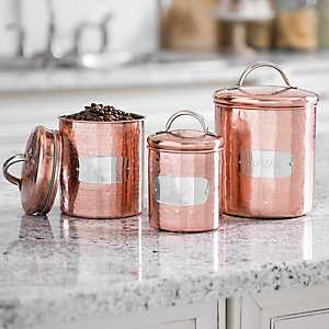 Silver Labeled Copper Canisters, Set of 3