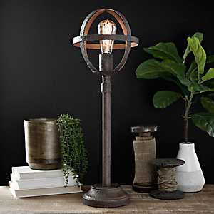 Bronze Sphere Edison Bulb Buffet Lamp