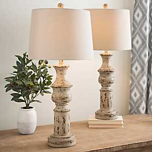 Distressed Cream Table Lamps, Set of 2