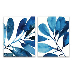 Sapphire Stems Canvas Art Prints, Set of 2