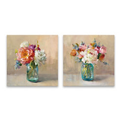 Cottage Bouquet Canvas Art Prints, Set of 2