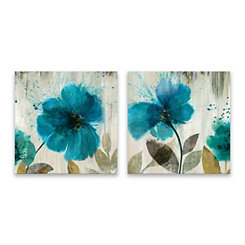 Teal Splash Canvas Art Prints, Set of 2