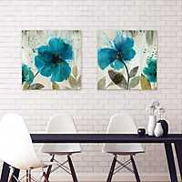 Teal Splash Canvas Art Prints, Set of 2
