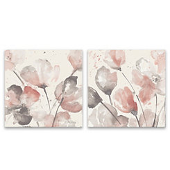 Neutral Pink Floral Canvas Art Prints, Set of 2