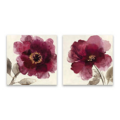 Crimson Peony Canvas Art Prints, Set of 2