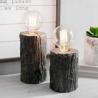 Brown Log Edison Bulb Uplights, Set of 2