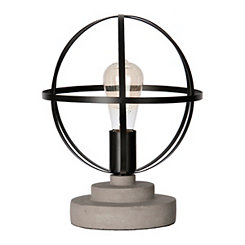 Cement and Metal Sphere Edison Bulb Table Lamp