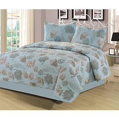 Blue Shell Norfolk 3-pc. King Quilt Set