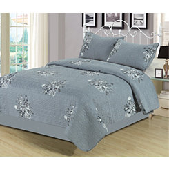 Gray Mabelle 3-pc. King Quilt Set