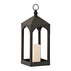 Open Black LED Lantern, 16 in.