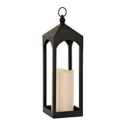 Open Black LED Lantern, 20 in.