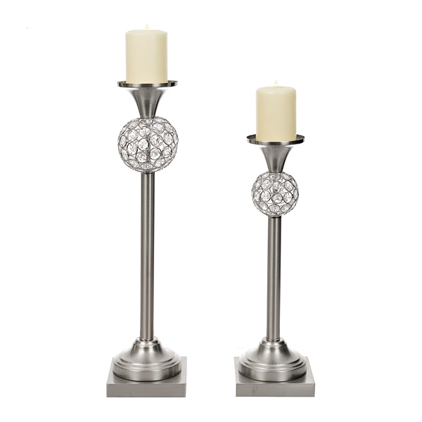 etched silver quatrefoil hurricane silver glitz candle holders set of 2