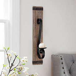 Wood Plank with Metal Accent Wall Sconce