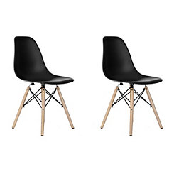 Black Modern Home Accent Chair, Set of 2