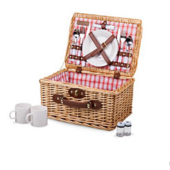 Red and White Plaid Catalina 14-pc. Picnic Basket