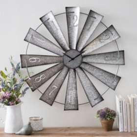Galvanized Metal Windmill Wall Clock