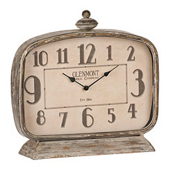 Weathered Brown Square Tabletop Clock