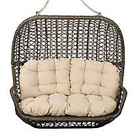 Gray Double Seat Hanging Swing with Cream Cushions