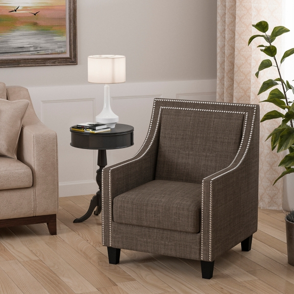 emma charcoal accent chair - Arm Chairs