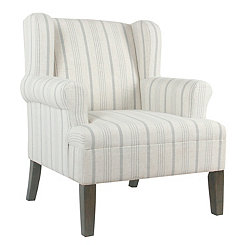 Dove Gray Stripe Accent Chair