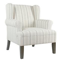Dove Gray Stripe Accent Chair
