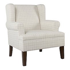 Cream Windowpane Accent Chair