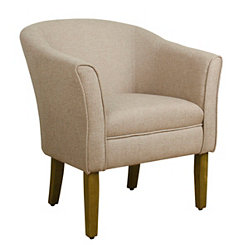 Flax Brown Modern Barrel Accent Chair