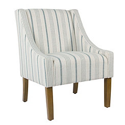 Blue Calypso Stripe Swoop Accent Chair