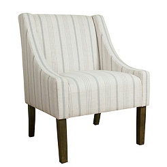 Dove Gray Stripe Swoop Accent Chair