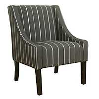 Charcoal Stripe Swoop Accent Chair