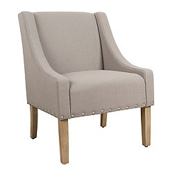Natural Tan Accent Chair with Nailhead Trim