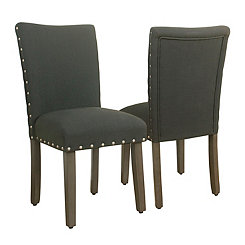 Charcoal Gray Parsons Chairs, Set of 2