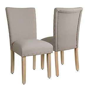 Beige Parsons Chairs, Set of 2