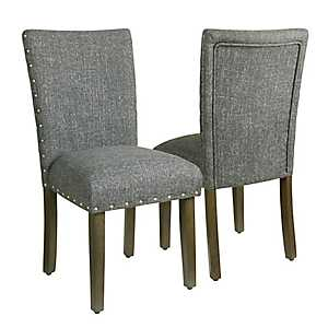 Slate Gray Parsons Chairs, Set of 2