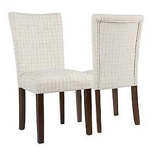 Cream Windowpane Parsons Chairs, Set of 2