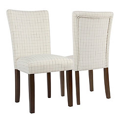 Cream Windowpane Parsons Chairs, Set of 2