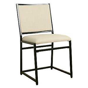 Burlap Industrial Metal Dining Chair