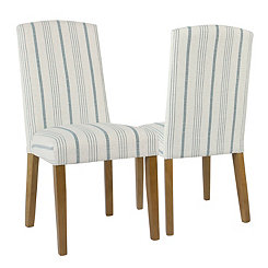 Blue Calypso Stripe Parsons Chairs, Set of 2