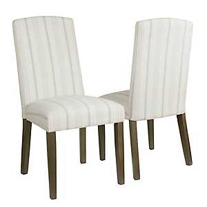 Dove Gray Stripe Parsons Chairs, Set of 2