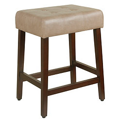 Taupe Tufted Faux Leather Counter Stool