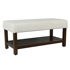 Cream Windowpane Bench