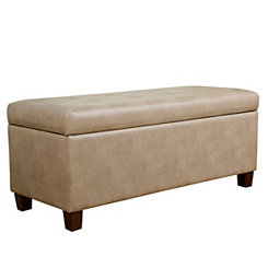 Taupe Faux Leather Storage Bench