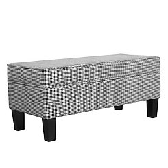 Ebony Houndstooth Storage Bench
