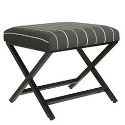 Charcoal Stripe X-Base Metal Ottoman