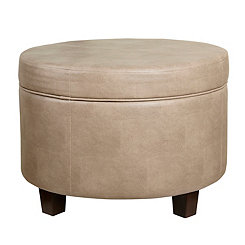 Taupe Faux Leather Storage Ottoman